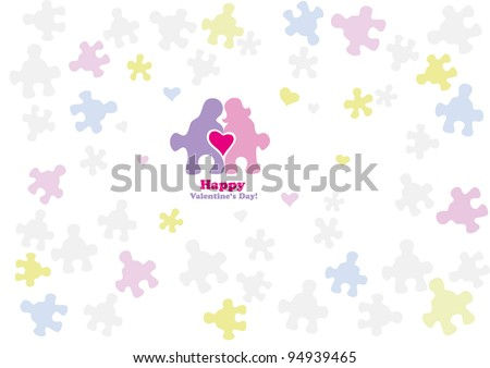 Puzzles with silhouettes of men and women are held together by a heart - stock vector