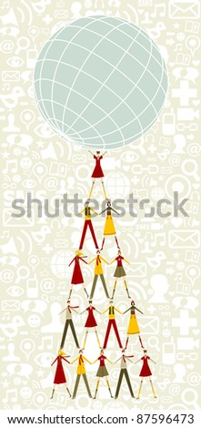 Pyramid as Christmas tree of people holding the world with social icons pattern background. - stock vector