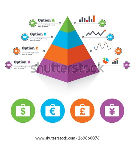 Pyramid chart template. Businessman case icons. Cash money diplomat signs. Dollar, euro and pound symbols. Infographic progress diagram. Vector - stock vector