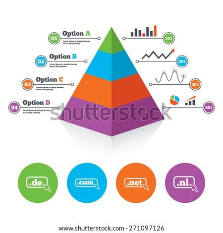 Pyramid chart template. Top-level internet domain icons. De, Com, Net and Nl symbols with cursor pointer. Unique national DNS names. Infographic progress diagram. Vector - stock vector