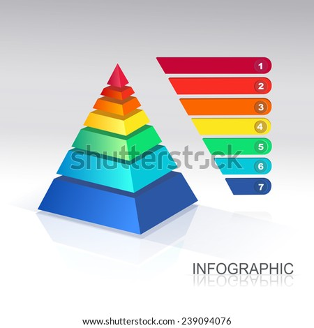 Pyramid chart. Vector. for infographics and presentations - stock vector
