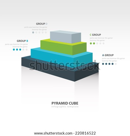 pyramid cube  infographic side view 4 color