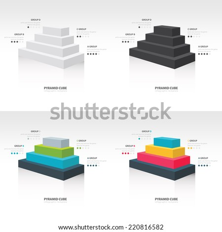 pyramid cube  infographic side view set