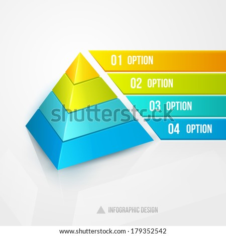 pyramid infographic design template vector illustration isolated on white - stock vector