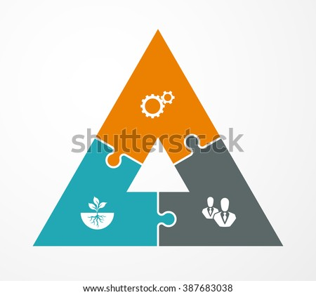 Pyramid Three Piece Flat Puzzle Round Infographic Presentation 3 Step Circle Business Diagram