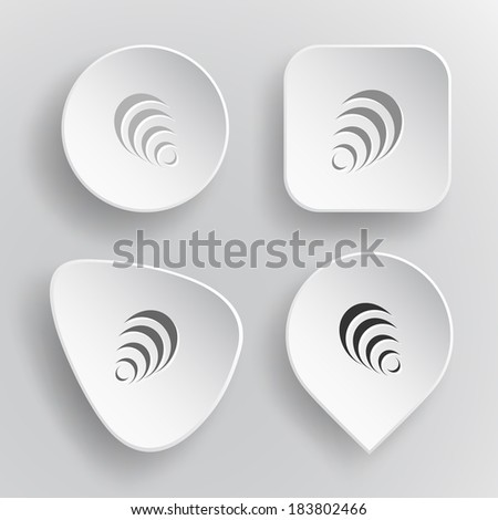 Pyramid. White flat vector buttons on gray background. - stock vector