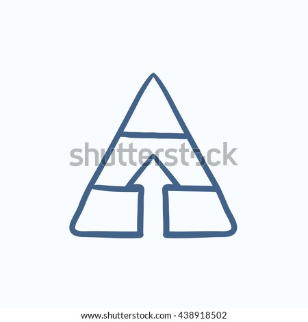 Pyramid with arrow up vector sketch icon isolated on background. Hand drawn Pyramid with arrow up icon. Pyramid with arrow up sketch icon for infographic, website or app. - stock vector