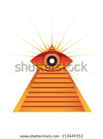 pyramid with eye - stock vector