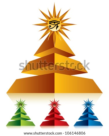 Pyramid with eye of Ra symbol at the top, vector icon. - stock vector