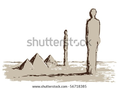 Pyramids and giant - stock vector