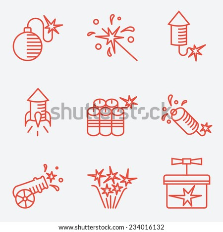 Pyrotechnic set, thin line style, modern flat design - stock vector