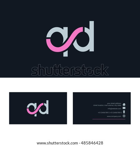 Q d letter logo business card stock vector hd royalty free q d letter logo with business card template thecheapjerseys Image collections