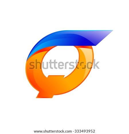Q letter blue and Orange logo design Fast speed design template elements for application. - stock vector