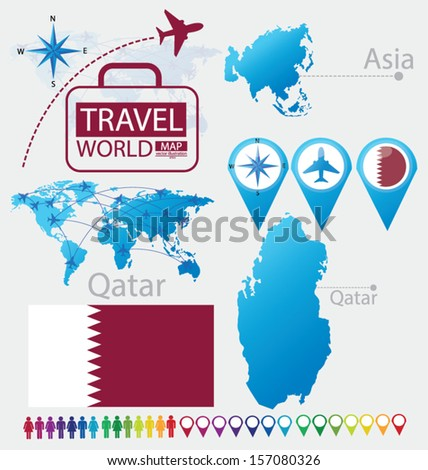 Qatar. flag. Asia. World Map. Travel vector Illustration. - stock vector