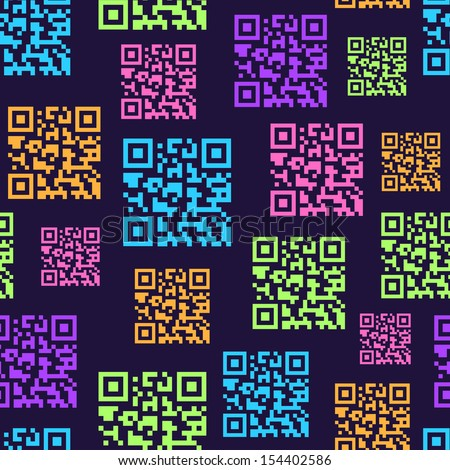 QR Barcode Seamless Pattern. Vector Background - stock vector