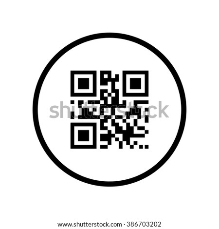 Qr code icon in circle . Vector illustration