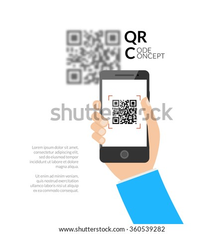 QR code scanning with mobile phone. Capture QR code on mobile phone. Symbol scanning QR code. Concept of recognition QR code. - stock vector