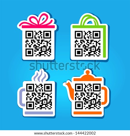 QR-Code. Set for website - stock vector