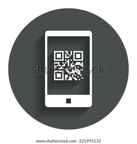 Qr code sign icon. Scan code in smartphone symbol. Coded word - success! Circle flat button with shadow. Modern UI website navigation. Vector - stock vector