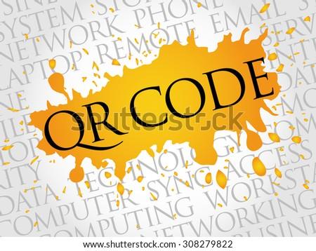 QR code word cloud concept - stock vector