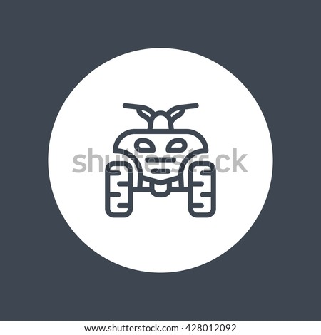 quad bike line icon, all terrain vehicle, quadricycle linear icon isolated on white, vector illustration - stock vector