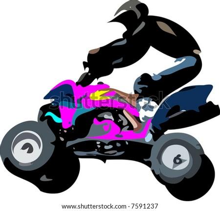 quad race - stock vector