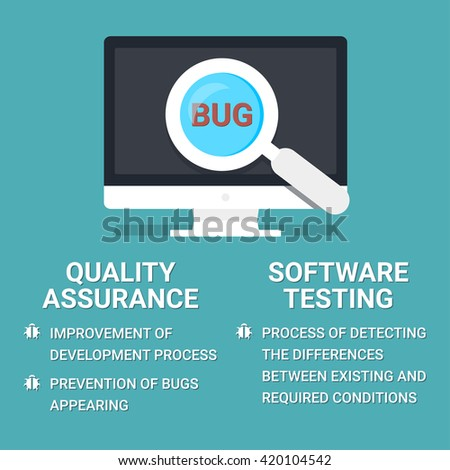 Quality Assurance And Software Testing Definitions. Searching Bugs. Vector Icon In Flat Design. - stock vector