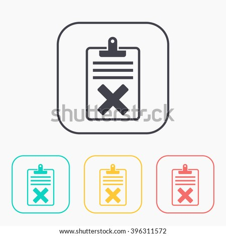 Quality control related vector color icon set. Fail  - stock vector