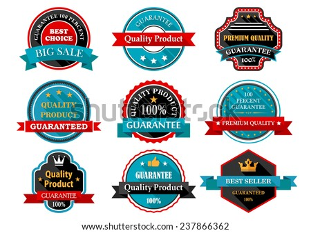 Quality, guarantee, bestseller, best choice flat labels set for retail and sales design in retro style with ribbon banners and stars in frames - stock vector