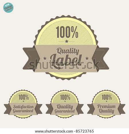 Quality Labels and Satisfaction Guarantee badges,  with retro vintage design - stock vector