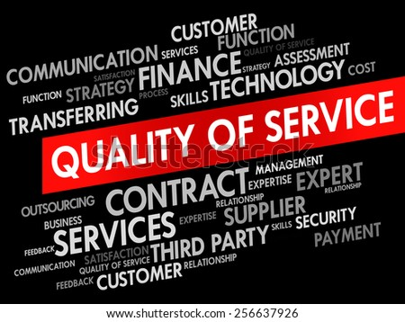Quality of Service related items words cloud, business concept - stock vector