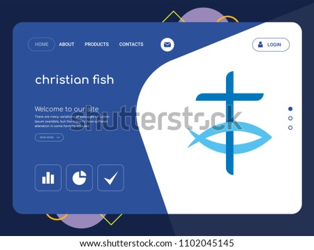 Quality One Page Christian Fish Website Stock Vector (2018 ...