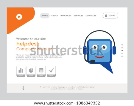 Quality One Page Helpdesk Website Template Stock Vector 1086349352 ...