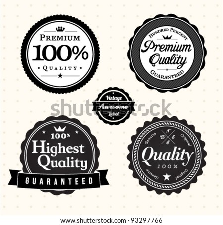 Quality vintage label template collection - stock vector
