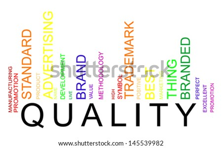 Quality word concept in barcode with supporting words, modern, concept, vector