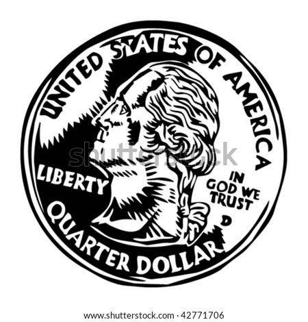 quarter dollar coin - stock vector
