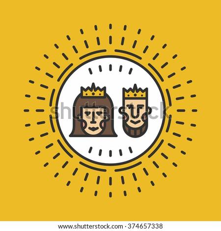 Queen King Line Att Vector Illustration Stock Vector 374657338