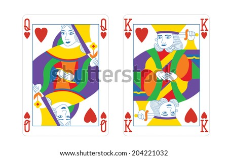 queen and king play cards