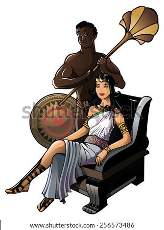 Queen of ancient Greece with her servant, vector illustration - stock vector