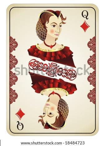 Queen Of Diamonds - stock vector