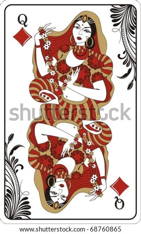Queen of diamonds from deck of playing cards, rest of deck available. - stock vector