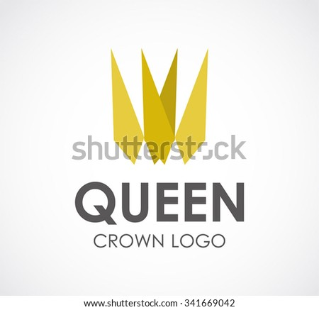 Queen of golden crown abstract vector and logo design or template luxury business icon of company identity symbol concept - stock vector