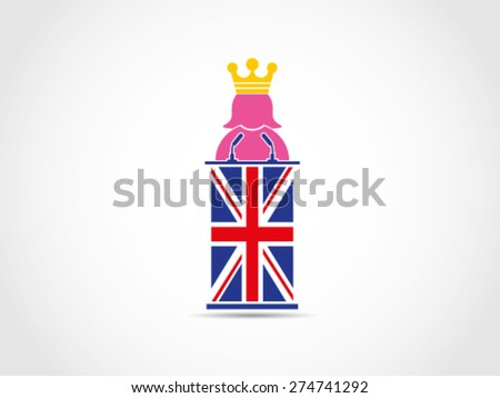 Queen Of UK Britain Speech - stock vector