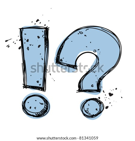 Question and exclamation marks in sketch.-style. Vector illustration. - stock vector
