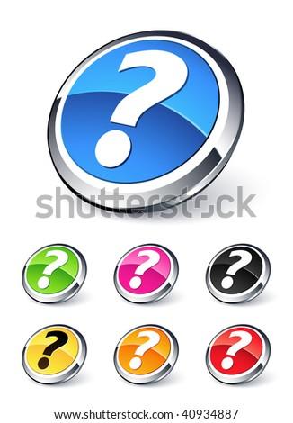 question button - stock vector