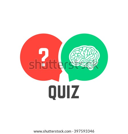 question mark and brain like quiz. concept of quizz time, mind, discovery, knowledge token, interrogation, success. flat style trend modern quiz logotype design vector illustration on white background - stock vector