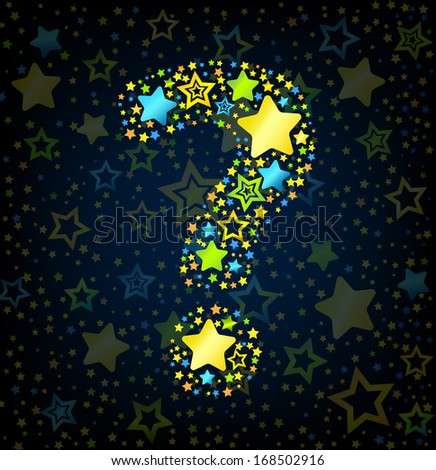 Question mark cartoon kid style vector font with  colored  stars - stock vector