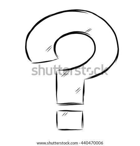 Question mark / cartoon vector and illustration, black and white, hand drawn, sketch style, isolated on white background. - stock vector