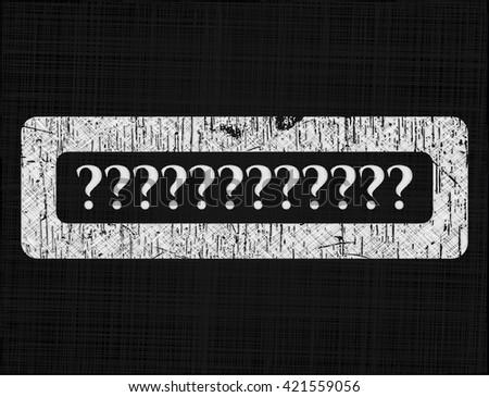 Question Mark chalkboard emblem on black board - stock vector