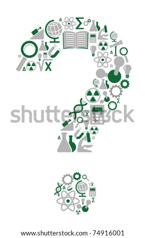 Question mark consisting of a scientific character - stock vector
